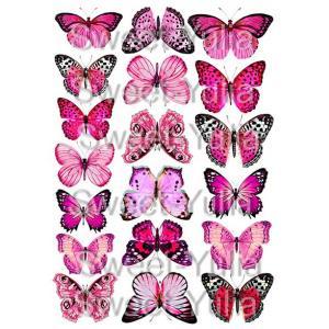 Вафельная картинка Бабочки розовые малиновые пурпурные