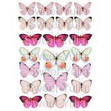 Вафельная картинка Бабочки розовые