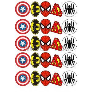 Вафельная картинка Мстители, Супергерои значки героев