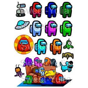Вафельная картинка Амонг Ас (Among Us) герои игра