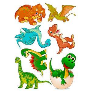 Вафельная картинка Динозавры герои динозаврики дино в яйце